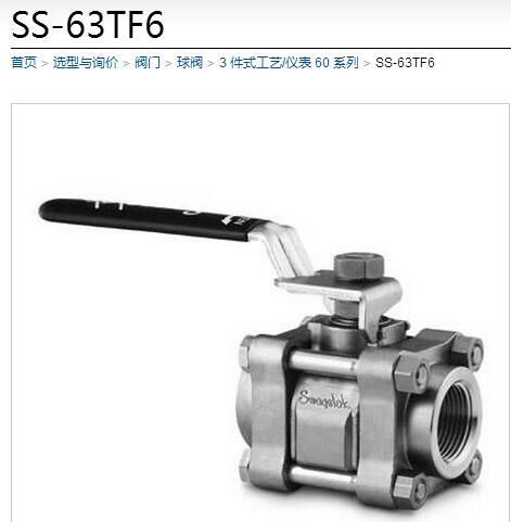 世伟洛克SS-63TF6三片式球阀