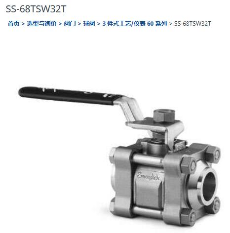 世偉洛克SS-68TSW32T球閥