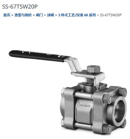 世偉洛克SS-67TSW20P球閥