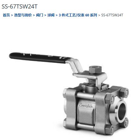 世偉洛克SS-67TSW24T球閥